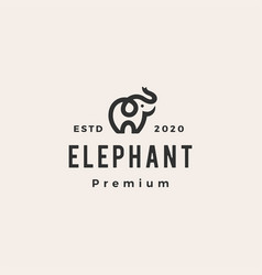 little elephant hipster vintage logo icon vector image