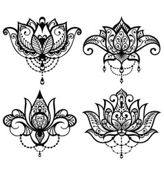Lotus tattoo set vector