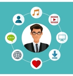 Man glasses business with social media icons vector
