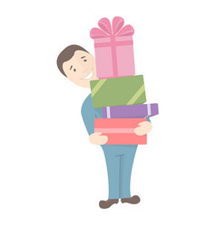 Man holds gifts vector