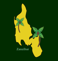 Map of zanzibar with palms vector