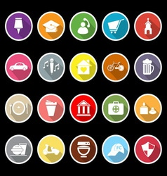 Map sign and symbol flat icons with long shadow vector