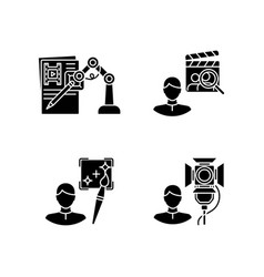 Movie production black glyph icons set on white vector