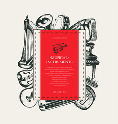 Musical instruments - hand drawn square postcard vector