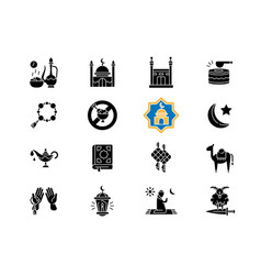 Muslim holidays black glyph icons set on white vector