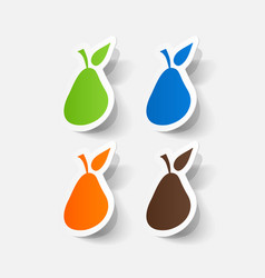 Paper clipped sticker pear fruit vector