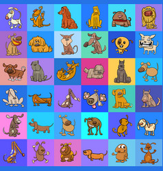 pattern with cartoon dogs design vector image