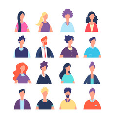 people avatars cartoon man and woman office vector image