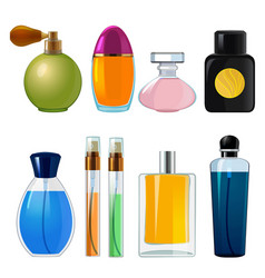 perfumes bottles various flasks and glass bottles vector image