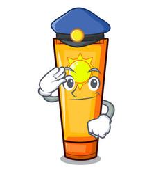 police sun cream in mascot shape vector image