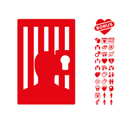 prison door icon with lovely bonus vector image
