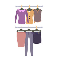 Racks with top and bottom female garments set vector
