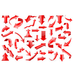 red arrows set of shiny 3d icons isolated on vector image