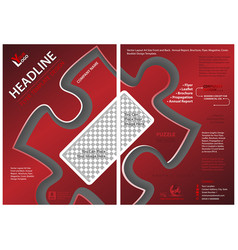 red flyer template with puzzle shape vector image