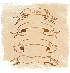 ribbon banner set sketch vector image