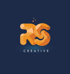 Rs letter with origami triangles logo creative vector