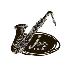 saxophone doodle hand drawn sketch vector image
