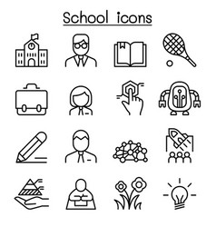 School education learning icon set in thin line vector
