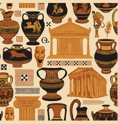 seamless pattern on theme ancient greek vector image