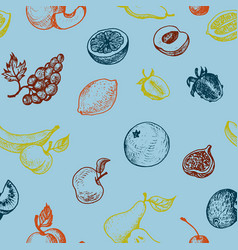 seamless pattern with drawing fruits vector image