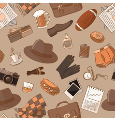 Seamless pattern with vintage male things vector