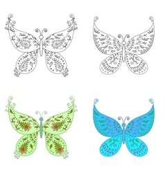 Set abstract butterflies vector image vector image