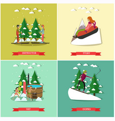 set of winter fun posters in flat style vector image