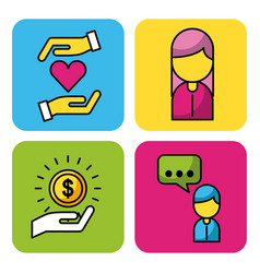 Set people donation charity money business icons vector