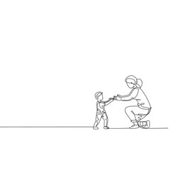 single continuous line drawing young mom ready vector image