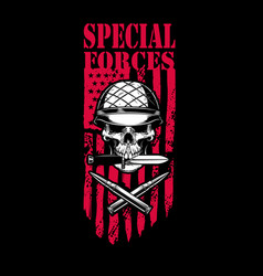 special forces skull in army helmet with crossed vector image