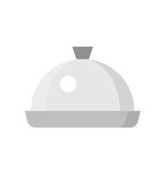 Stainless steel dome food cover icon flat design vector