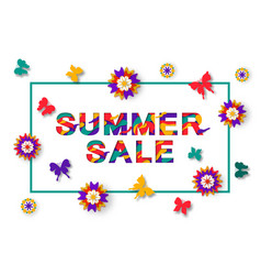 summer sale paper cut background for banner vector image