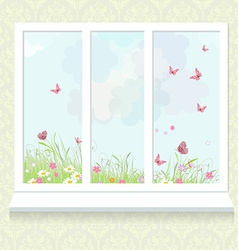 Sunny meadow with flowers from window vector