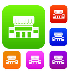 supermarket building set collection vector image