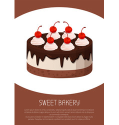 Tasty cake with dark chocolate and cherries on top vector