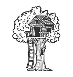 tree house sketch engraving vector image