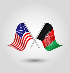 Two crossed american and afghan flags vector