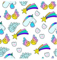 Unicorns star wings paw print fantasy vector