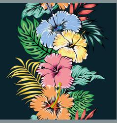 vivid hibiscus flowers seamless pattern ribbon vector image
