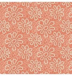 White flower pattern on warm pink background vector