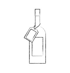 Wine bottle glass with price tag and scanning code vector