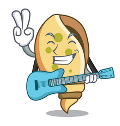 With guitar sea shell mascot cartoon vector