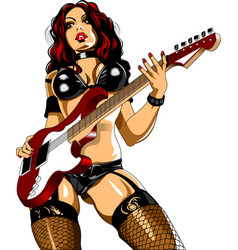 woman guitarist vector image
