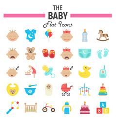 baby flat icon set kid symbols collection vector image vector image