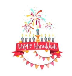 Hanukkah menorah with candles and coins vector image