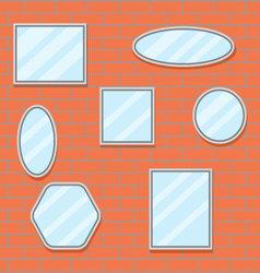 Mirror set design brick wall vector image