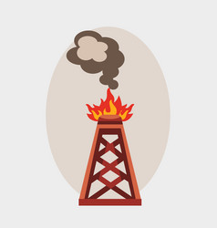 oil industry burning production station extracting vector image