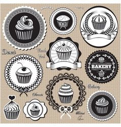 set of design elemnts icons for baking and bakery vector image vector image