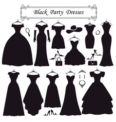 silhouette of black party dressesfashion flat vector image vector image