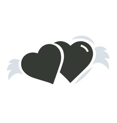 two hearts with wings vector image vector image